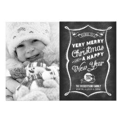 Chalkboard Typography 2012 Christmas Flat Card