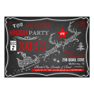 Chalkboard Typography Christmas Party Invitation