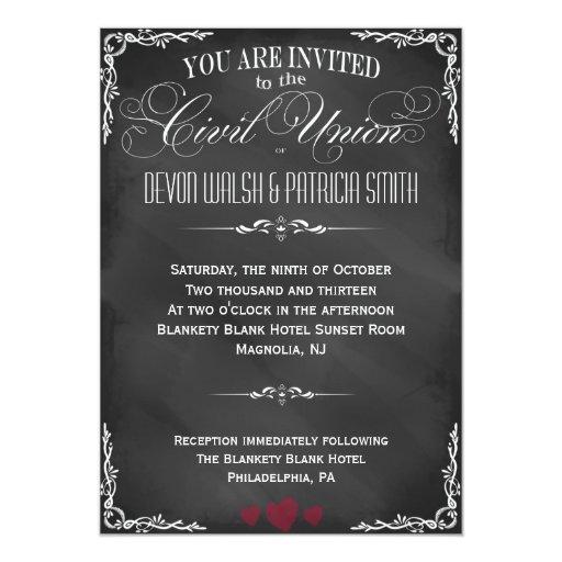 Chalkboard Typography Civil Union Invitation