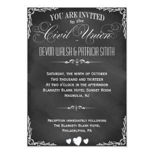 Civil union invitations zazzle chalkboard typography civil union invitation stopboris Choice Image