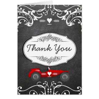 Chalkboard Typography Classic Car Thank You Card