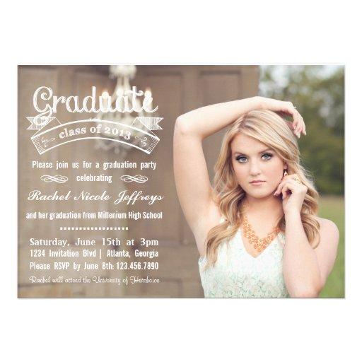 Chalkboard Typography Full Photo 2013 Graduation Cards