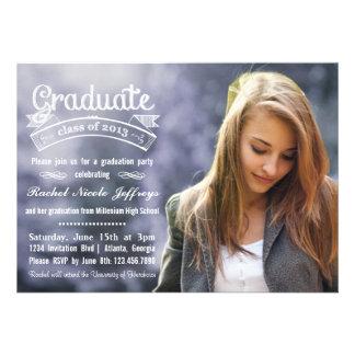 Chalkboard Typography Full Photo 2013 Graduation Custom Invitations