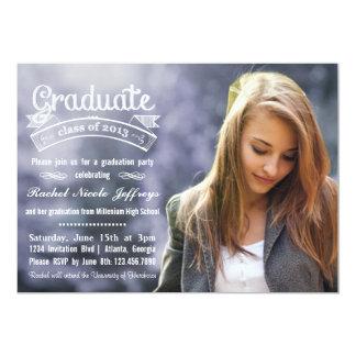 "Chalkboard Typography Full Photo 2013 Graduation 5"" X 7"" Invitation Card"