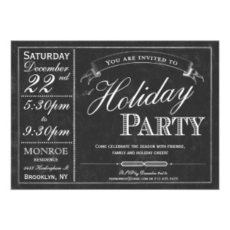Chalkboard Typography Holiday Party Invitation