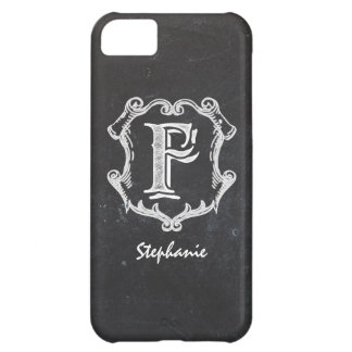 Chalkboard Typography Monogrammed Initial F Case For iPhone 5C