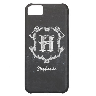Chalkboard Typography Monogrammed Initial H iPhone 5C Case