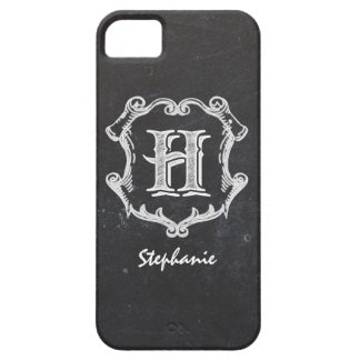 Chalkboard Typography Monogrammed Initial H iPhone SE/5/5s Case