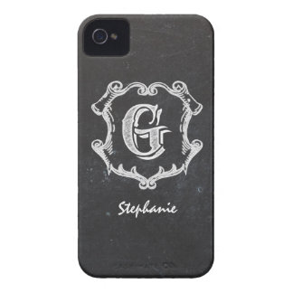 Chalkboard Typography Monogrammed Initial iPhone 4 Case