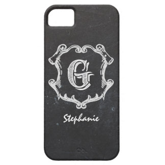 Chalkboard Typography Monogrammed Initial iPhone SE/5/5s Case