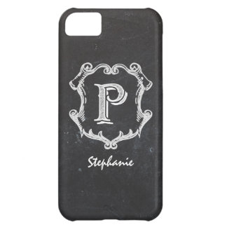 Chalkboard Typography Monogrammed Initial P Cover For iPhone 5C