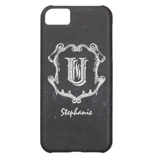 Chalkboard Typography Monogrammed Initial U iPhone 5C Cover