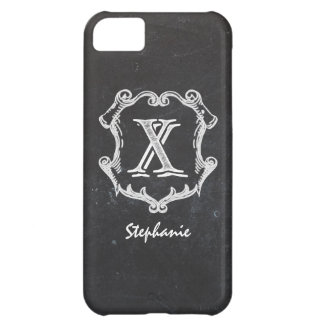 Chalkboard Typography Monogrammed Initial X Cover For iPhone 5C
