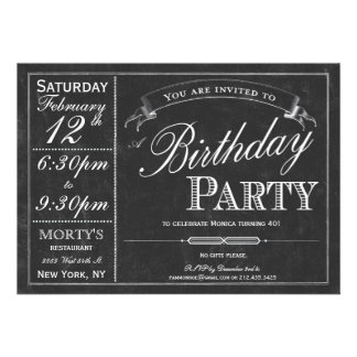 Chalkboard Typography Party Invitation