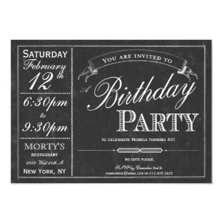"Chalkboard Typography Party Invitation 5"" X 7"" Invitation Card"
