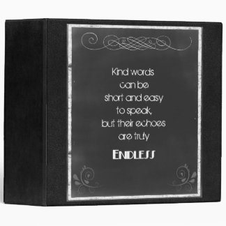 Chalkboard Typography Quote on Using Kind Words Binder