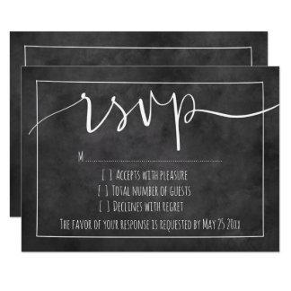 Chalkboard typography rsvp wedding response cards