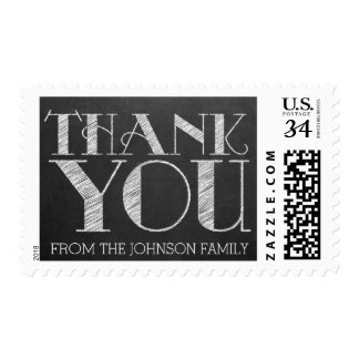 Chalkboard Typography Thank You Personalized Stamp