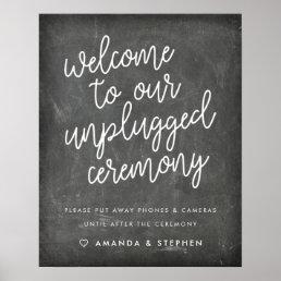 Chalkboard Typography Unplugged Wedding Ceremony Poster