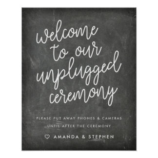 Chalkboard Typography Unplugged Wedding Ceremony Poster
