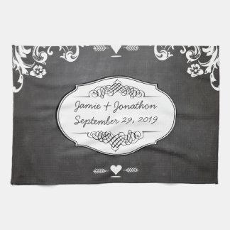 Chalkboard Typography Weddings Kitchen Towel