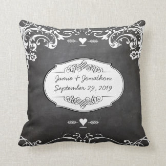 Chalkboard Typography Weddings Throw Pillow