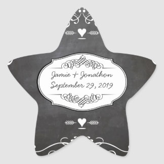 Chalkboard Typography Weddings Star Sticker