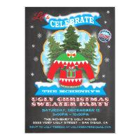 Chalkboard Ugly Christmas Sweater Invitations