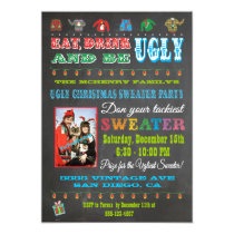 Chalkboard Ugly Christmas Sweater Photo Invitation