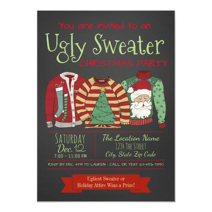 Ugly Christmas Sweater Invites as awesome invitations template