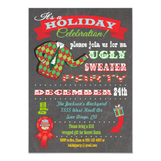 Chalkboard Ugly Sweater Christmas Party Invitation at Zazzle