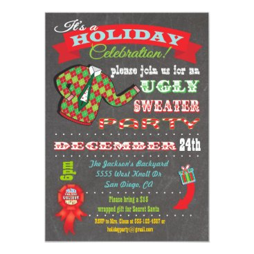 Christmas Themed Chalkboard Ugly Sweater Christmas Party Invitation