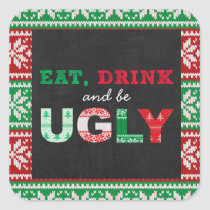 Chalkboard Ugly Sweater Holiday Square Sticker