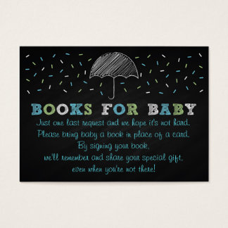 Chalkboard Umbrella Baby Shower Book Request Cards
