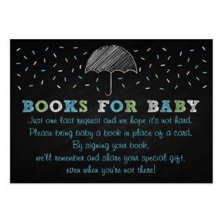 Chalkboard Umbrella Baby Shower Book Request Cards Large Business Cards (Pack Of 100)