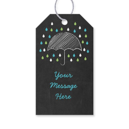 Chalkboard Umbrella Baby Shower Gift Tags
