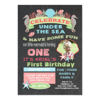 Chalkboard Under the Sea Birthday Party 5x7 Paper Invitation Card