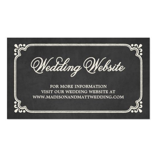 Chalkboard union wedding website card double sided for Website business card template