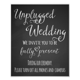 Chalkboard unplugged wedding print