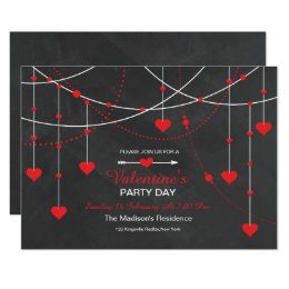 Chalkboard Valentine's Day Party Invitation Card
