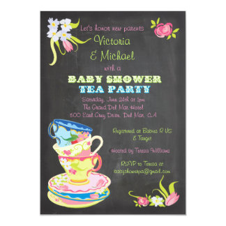 Chalkboard Victorian Stacked Tea Cups Baby Shower Card