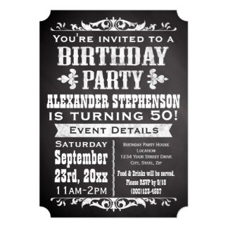 Chalkboard Vintage Blackboard Theme Birthday Party 5x7 Paper Invitation Card