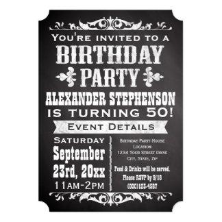 "Chalkboard Vintage Blackboard Theme Birthday Party 5"" X 7"" Invitation Card"