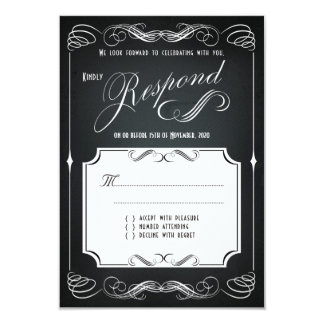 Chalkboard Vintage Bold Typography Wedding RSVP Card
