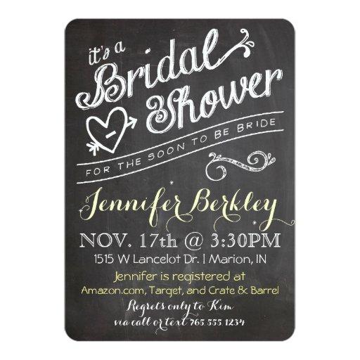 Chalkboard vintage bridal shower invitation zazzle for Classic bridal shower invitations