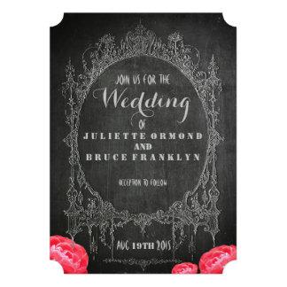 Chalkboard Vintage Floral - Wedding Invitation