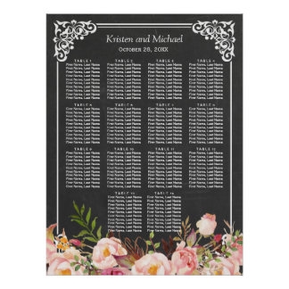 Chalkboard Vintage Floral Wedding Seating Chart