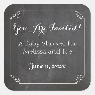 Chalkboard Vintage Flourish Frame, Baby Shower Square Sticker