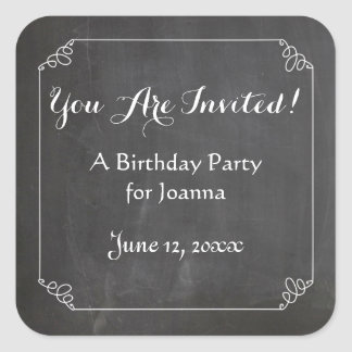 Chalkboard Vintage Flourish Frame Birthday Party Square Sticker