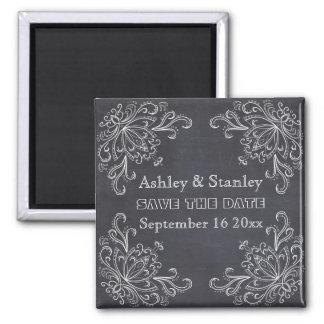Chalkboard, vintage flourish wedding Save the Date 2 Inch Square Magnet